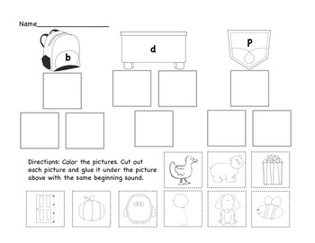 Backpack, Desk, or Pocket - Beginning Sound & Word Sort for b, d, p Confusion