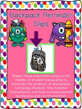 Backpack Handle Reminder Slips Throughout the Year (Notes home)