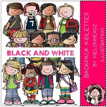 Melonheadz: Backpack Kidlettes clip art - BLACK AND WHITE