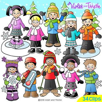 Backpack Kids Winter Activities Clipart LINE ART+CLIPART COMBO Winter Clip Art