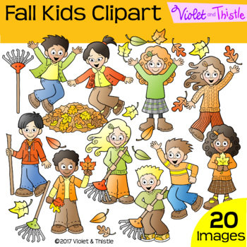 Kids Fall Activities Clipart Clip Art Raking Jumping in Leaves Collecting Leaves