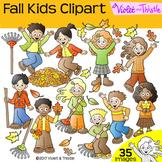 Fall Kids Clipart Kids Fall Activities LINE ART + CLIPART