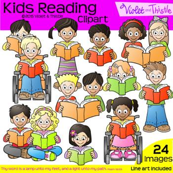 Backpack Kids Reading COMBO CLIPART + LINE ART Close Reading Clip Art