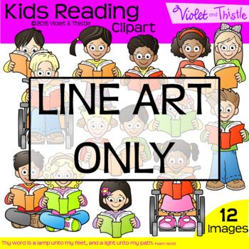 Backpack Kids Reading Children Line Art Clipart Kids Clip Art Multiracial