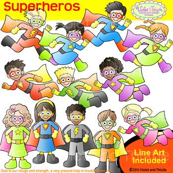 Backpack Kids Superheros CLIPART+LINE ART COMBO Superhero Superheroes Clip Art