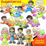 Superhero CLIPART+LINE ART COMBO Superhero Superheroes Clip Art