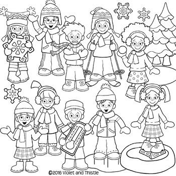 Backpack Kids Winter LINE ART ONLY Winter Kids Activities Clipart Clip Art