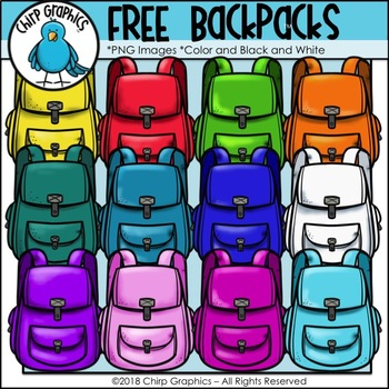 FREE Backpack Multicolor Clip Art Set - Chirp Graphics