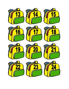 Backpack Numbers for Calendar or Math Activity