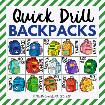Quick Drill Backpacks {for speech therapy or any skill drill}