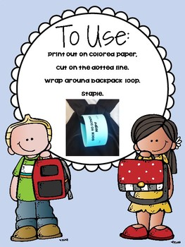 Backpack Reminder - 100th Day of School (English / Spanish)