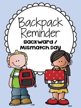 Backpack Reminder- Backwards / Mismatch Day (English / Spanish)