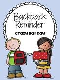 Backpack Reminder- Crazy Hat Day (English / Spanish)