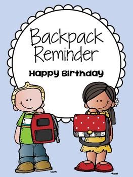 Backpack Reminder - Happy Birthday (English / Spanish)