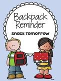 Backpack Reminder - Snack Reminder (English / Spanish)