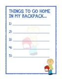 Backpack Take Home List