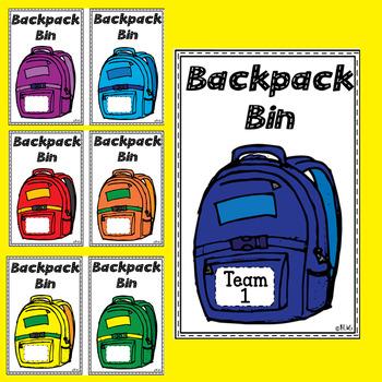 Backpack Tub Bin Label
