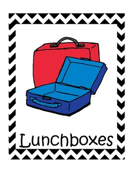 Backpack and Lunchbox Bin labels