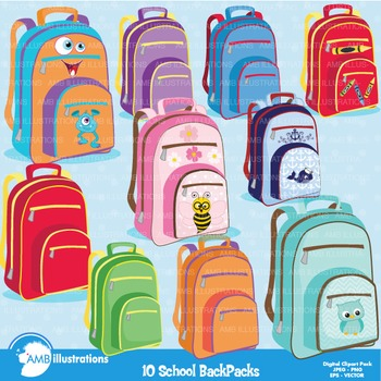 Backpack Clipart, Back to School Clipart, School Bag  Clip art, AMB-974