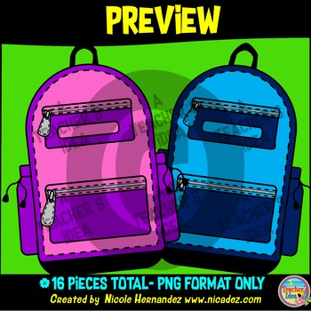 Backpacks Clip Art for Teachers
