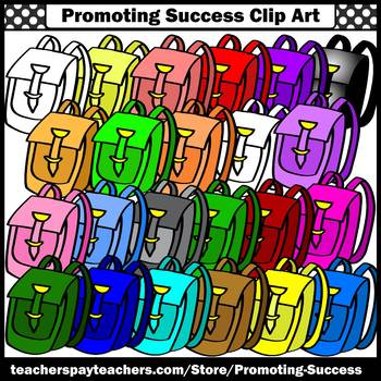 Backpacks Clipart, Back to School Clip Art, School Supplies, Colorful Bags SPS
