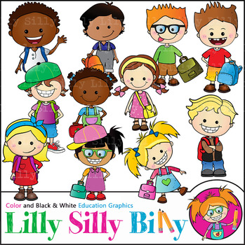 Backpacks & Satchels. Clipart. BLACK/ WHITE & Color Bundle. {Lilly Silly Billy}