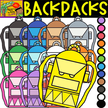 Backpacks - School Supplies - Cliparts set - 12 Items