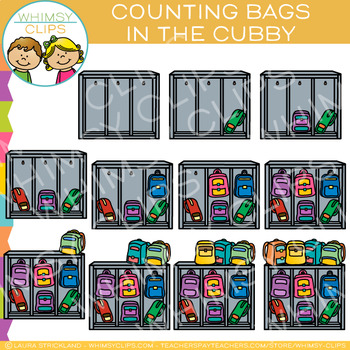 Backpacks in a Cubby Counting Clip Art
