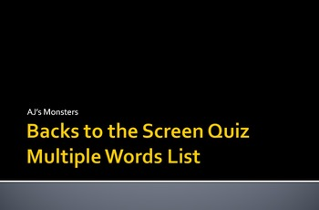 Backs to the Screen: Reading Standardized Testing Review Game 1