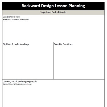 Backward Design Lesson Plan Template By Mstottensclassroom Tpt