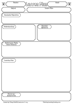 Backward Design Planning Lesson Plan Template By Things You Will Learn