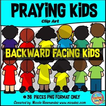Praying Kids (Backward Facing Kids) Clip Art Commercial Use