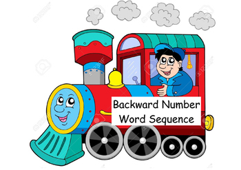 Backward Number Word Sequence Data Wall/ Tracker