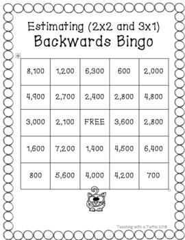 Backwards Bingo Estimating 2x2 and 3x1 Mixed Review