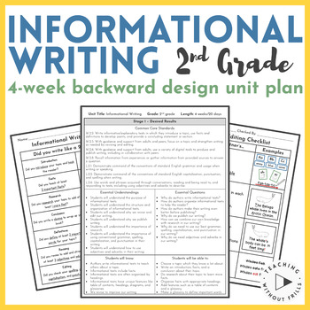 Backwards Design Unit Plan- Informational Writing {2nd Grade Common Core}