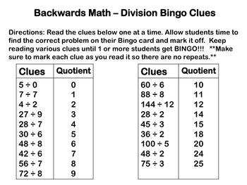 Backwards Division Bingo