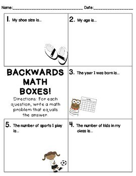 Backwards Math Boxes