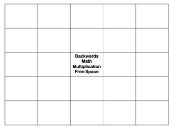 Backwards Multiplication Bingo