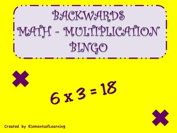 Backwards Multiplication Bingo