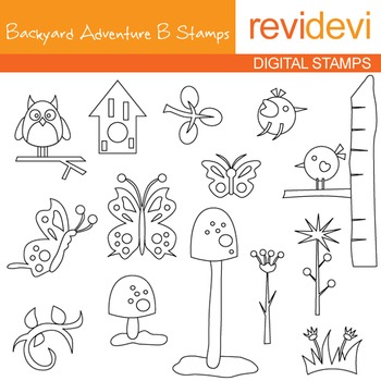 Backyard Adventure B blackline clip art - outline