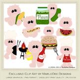 Backyard BBQ Pigs Clip Art Graphics