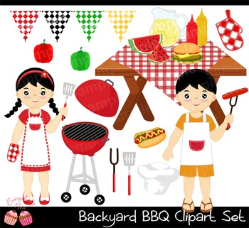Backyard Barbecue BBQ 2 Clipart Set
