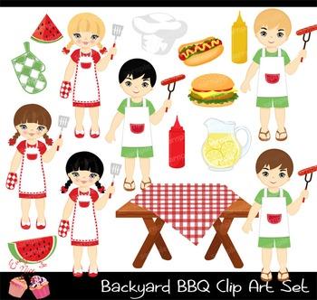 Backyard Barbecue BBQ Clipart Set