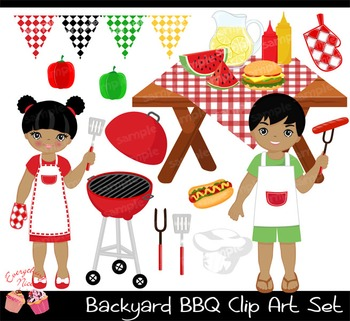 Backyard Barbecue BBQ Clipart Set