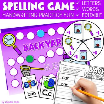 Sight Word Spelling Game ~ Backyard Bugs ~ editable