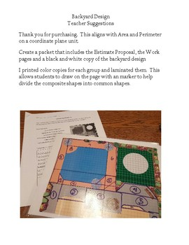 Backyard Design Cost Project - Area and Perimeter on a Coordinate Plane