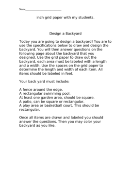 Backyard Design: an Area and Perimeter Project
