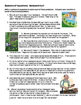 Backyard Fun - Systems of Equations Word Problems