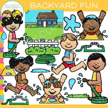 Backyard Fun in the Summer Clip Art