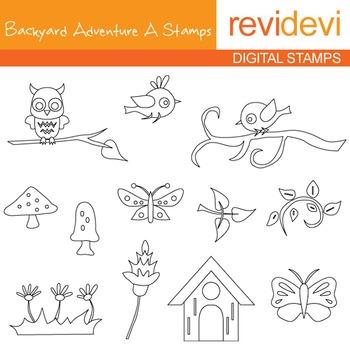Backyard adventure A stamps - blackline clip art - outline